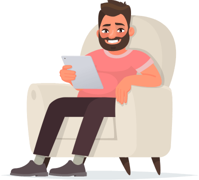 Animated man sitting in a chair