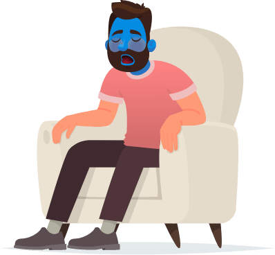Animated man in chair with blue face
