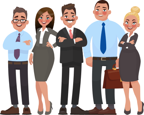 Animated group of business professionals