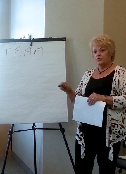 Kathy leading a team building event